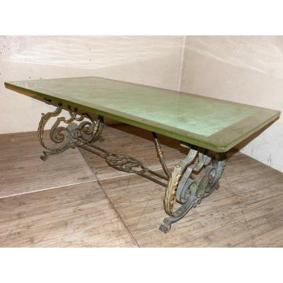 Large Table 208 X 105 Cm Glass Slab Top Wrought Iron Foot