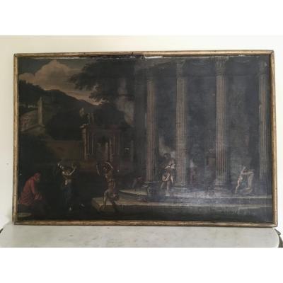 Italie 17ème, Silène Et Son Cortège  79 x 119 cm Paysage De Ruines