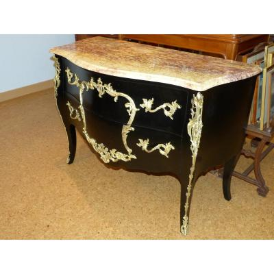 Louis XV Style Black Lacquered Commode Golden Bronzes
