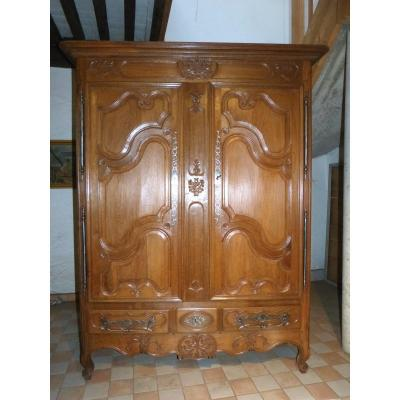 Beautiful Lorraine Wardrobe 18th Decor Birds And Flowers, Height 213 Cm
