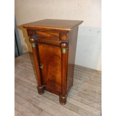 Empire Walnut Bedside Table Detached Columns With Balls