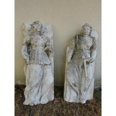 Pair Of Renaissance Limestone Statue Height 86 Cm