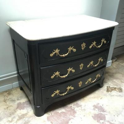 Commode 18 Eme Top Black Lacquered Marble
