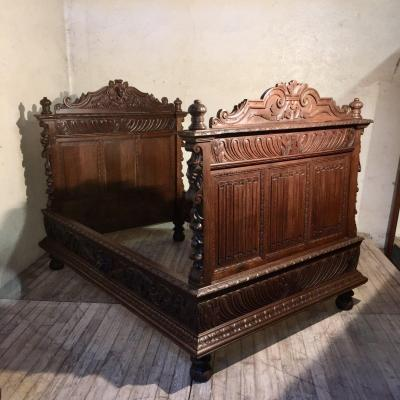 Renaissance Oak Bed, Or Pair Of Headboard