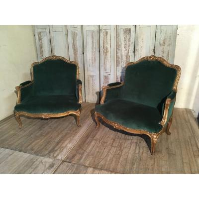 Pair Of Louis XV Marquises Golden Wood Napoleon III