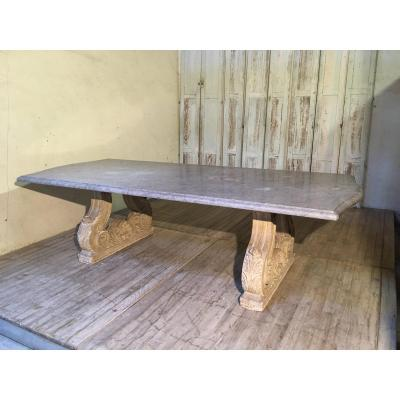 Large Marble Stone Feet Dining Table