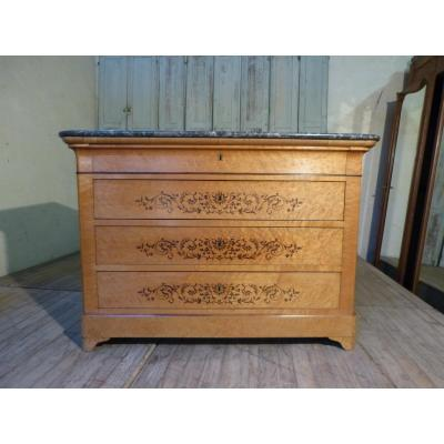 Charles X Commode In Light Wood 19th Century