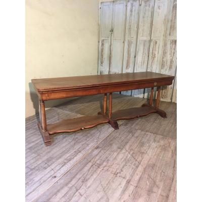 Large 19th Century Walnut Drapery Table, 222 Cm