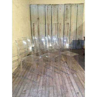 Starck For Kartell Set Of 8 La Marie Chairs In Plexi