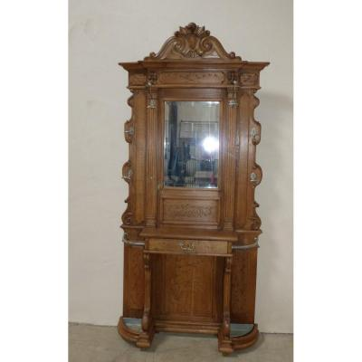 Locker Room In Blond Oak Napoleon III With Drawer And Umbrella Holder