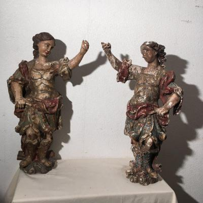 Pair Of Statues In Oak 17 Eme