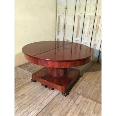 Large Mahogany Dining Table 19 Eme Century Diameter 128 Cm