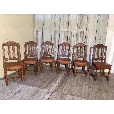 Series Of 6 Chairs In Cherry 18 Eme