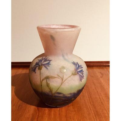 Daum Nancy, Petit Vase Art Nouveau Aux Bleuets