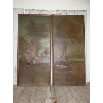 Pair Of Large 18th Woodwork Paintings 207 X 96 Cm