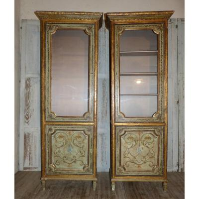 Pair Of Showcases Italy 19th Lacquered And Gilded Wood