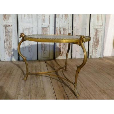 Maison Ramsay, Table Basse Néoclassique En Bronze Doré Et Marbre