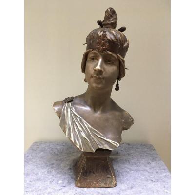 Georges Coudray: Bakie, Buste En Terre Cuite Polychrome Art Nouveau