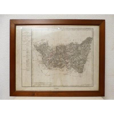 Carte Des Vosges Légendée 18ème Datée 1790