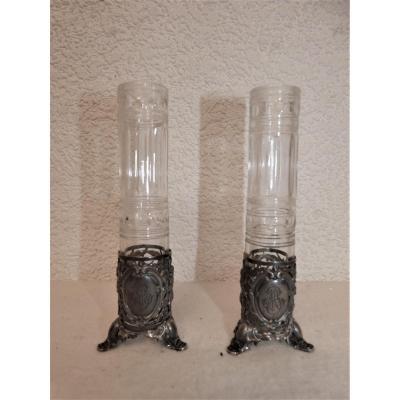 Paire De Petits Vases Soliflore En Cristal Et Argent Fin 19ème