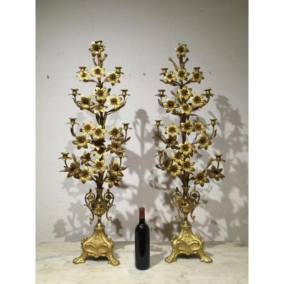 Exceptional Pair Of Candlesticks In Gilt Bronze 118 Cm