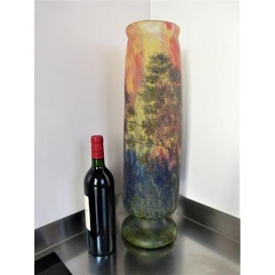 Grand Vase Daum Art Nouveau En Verre Gravé Et émaillé 55 cm