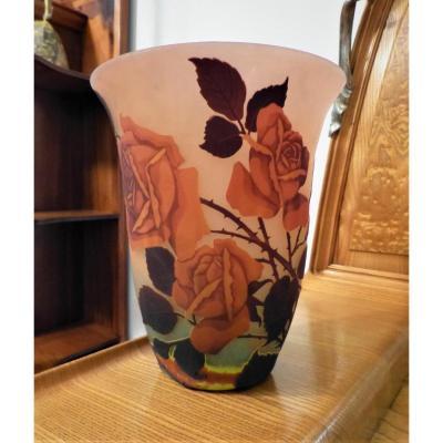 Müller Frères Lunéville , Vase Art Nouveau Gravé à La Rose
