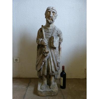Statue En Pierre Calcaire 16 ème Siècle  Saint Simon-Pierre 100 Cm