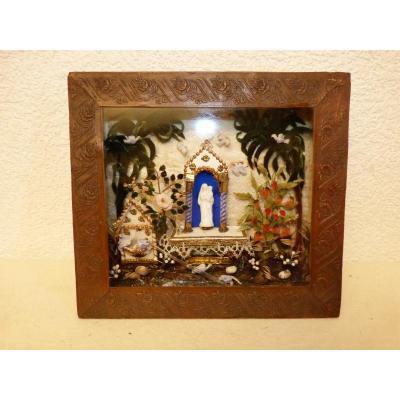 Diorama Verre Filé,  Autel Vierge Marie , Ex Voto 19ème