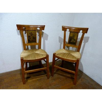 Pair Of Directoire Chairs In Cherry And Lithographed Sheet