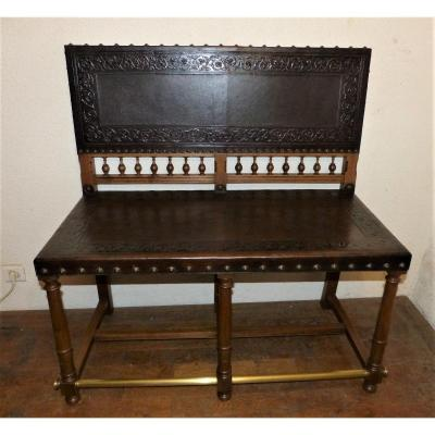 Small Leather Billiard Bench, Walnut Nineteenth