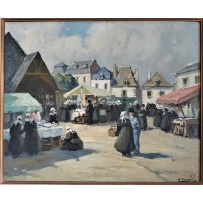Henri Barnoin, Le Faouët Bretagne 61 X 51 Cm Huile Sur Toile