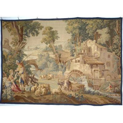 Grande Tapisserie Aubusson 268 X 187 Cm Scène Champêtre Au Moulin 19ème