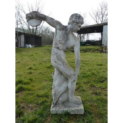 Large Antique Greek Garden Statue In Reconstructed Stone Discobolus 165cm