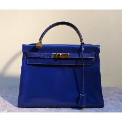 Sac Hermès Kelly 32 Bleu Année 1986