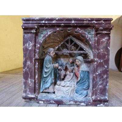 Nativité Renaissance Lorraine 16ème H 73 Cm Sculpture Pierre