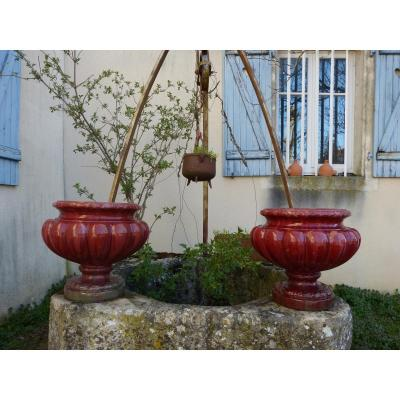 Pair Of Garden Basins In Glazed Terracotta Clément Massier Golfe Juan