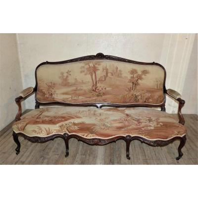 Large Rosewood Sofa Aubusson Tapestries Napoleon III
