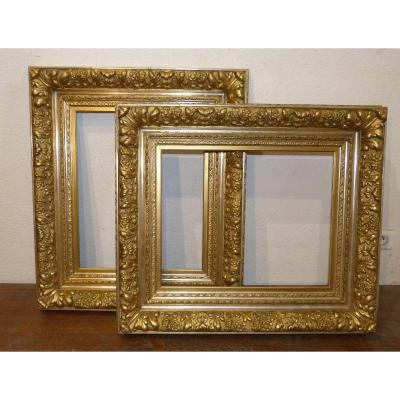 Pair Of Golden Frames 19th Louis XV Style: 77 X 67 Cm