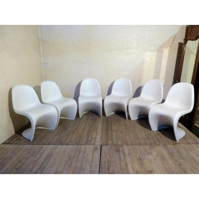 Verner Panton, 6 Panton Chair: Vitra Edition Chairs In Satin White Polypropylene