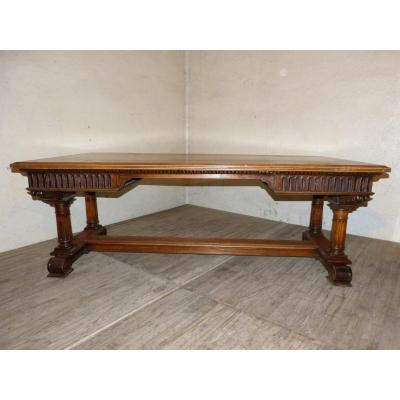 Large Renaissance Style Walnut Desk Top 211 X 109 Cm, 19th Century