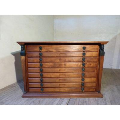 Empire Style 9 Drawer Cabinet Return From Egypt For Cards, Engravings Or Documents
