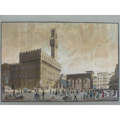 Italian School 19th Gouache Piazza Del Granduca Firenze