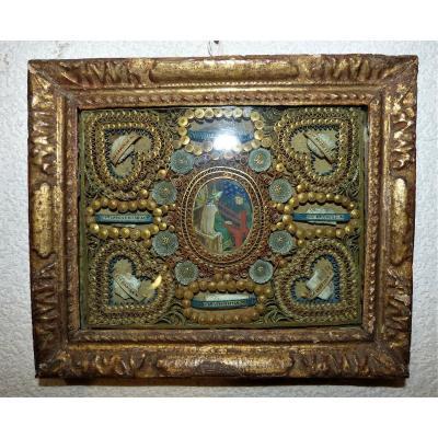 Rare Reliquaire à Paperolles  Et Gouache Centrale 18ème