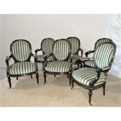 Series Of 6 Napoleon III Armchairs Gilded Bronzes And Blackened Wood.