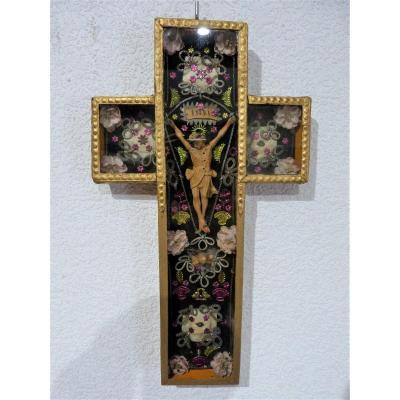 Cross Diorama Christ In Wood Decor In Relief 19th