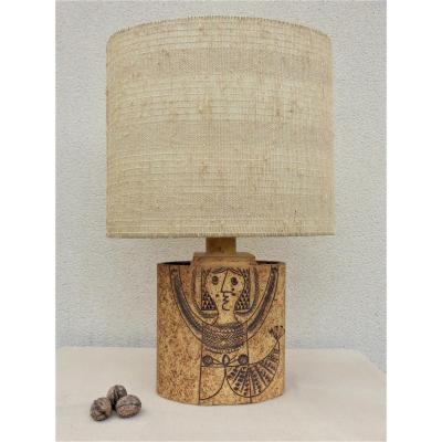 Roger Capron, Large Stoneware Lamp With Stamped Decor Circa 1970