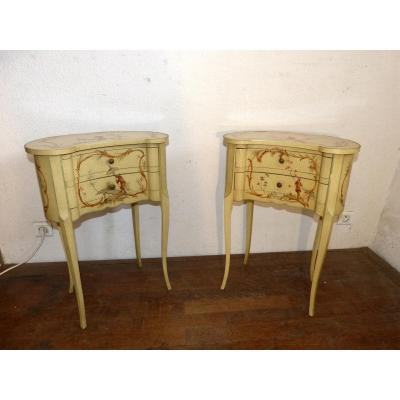 Pair Of Kidney Bedside Tables Chinese Decor Paillement Louis XV Style