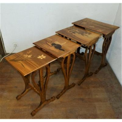 Emile Gallé - Series Of 4 Art Nouveau Nesting Tables