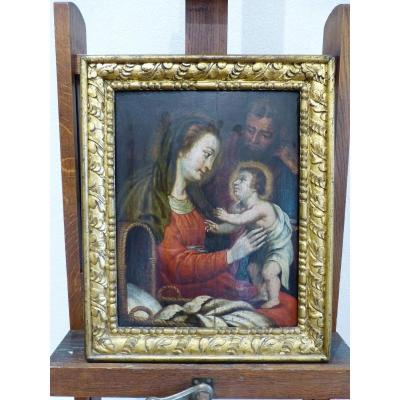 The Holy Family Oil On Panel 17th Century